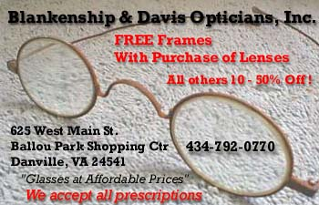 Blankenship & Davis Opticians. Danville Virginia