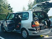 Minivan loaded for camping