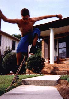 Skating at home and cousin Derrick's house was common